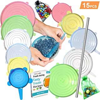 SPECIAL OFFER 15 Pack Silicone Stretch Lids 12pcs, Metal Drinking Straw + 2 Gift bags, Various Sizes and Shape of Containers, Reusable, Durable + Expandable Food Covers, Keeping Food Fresh, Dishwasher