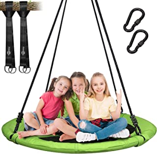 Trekassy 700 lb Saucer Tree Swing for Kids Adults 40 Inch 900D Oxford Waterproof Frame with 2 Hanging Straps - Green