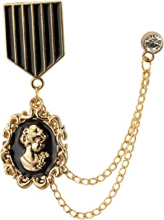 Black & Gold Queen Elizabeth Honorary Hanging Chain Brooch Lapel Pin
