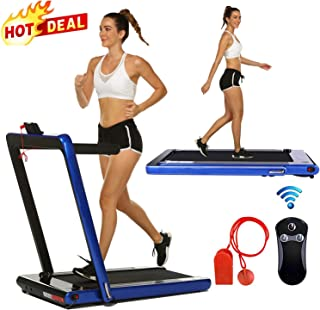 2 in 1 Under Desk Folding Treadmill,Electric Motorized Portable Pad Treadmills Walking Jogging Running Exercise Fitness Machine with Remote Controller and Bluetooth Speaker for Home Gym Office