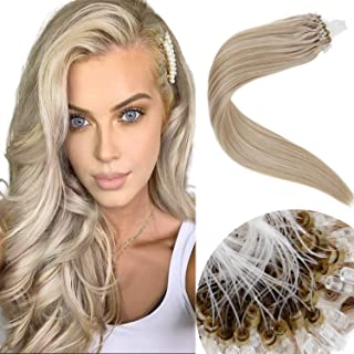 LaaVoo 16inch Micro Loop Hair Extensions Human Hair Extensions Cold Fusion Brazilian Micro Ring Highlight Ash Blonde to Light Blonde Silicone Micro Beads Stick Tip Hair Extensions 50g/50s#P18/24