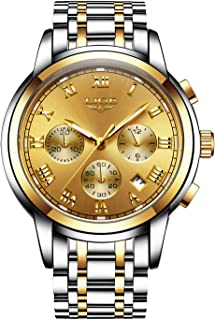 Men's Quartz Analog Watch Stainless Steel Strap with Date Chronograph