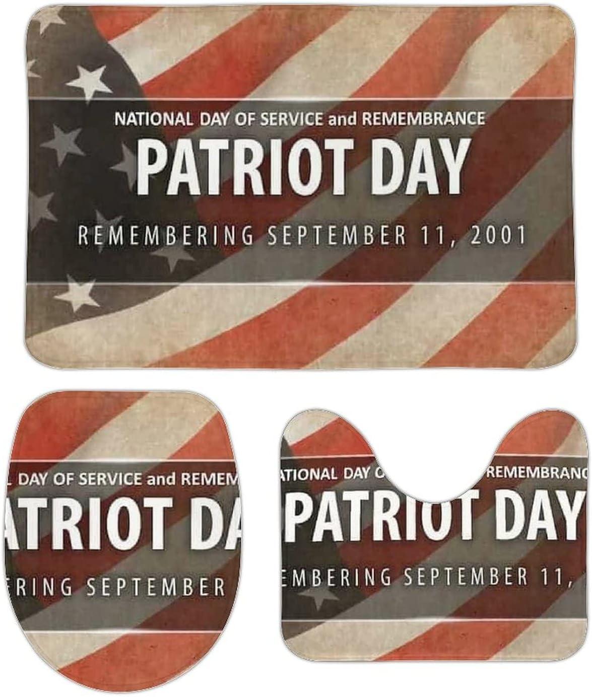 Vtilsiq Patriot Day USA Flag Bathroom 3 Detroit Mall Sets Rugs Max 63% OFF Piece Mats and