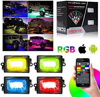 bordan RGB LED Rock Lights with Phone APP Bluetooth Controller, Mode,Timing, Flashing for Jeep,SUV,Truck,Off-Road,Boat - 4 Pods Multicolor Neon LED Light Kit