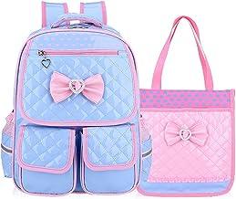 """کوله پشتی مدرسه PU چرم مدرسه PU دخترانه منعکس کننده Gazigo (L: 16.9 """"x 11.8"""" x 7 """"، کوله پشتی رز + کیف دستی) (آبی + کیف دستی ، بزرگ)"""