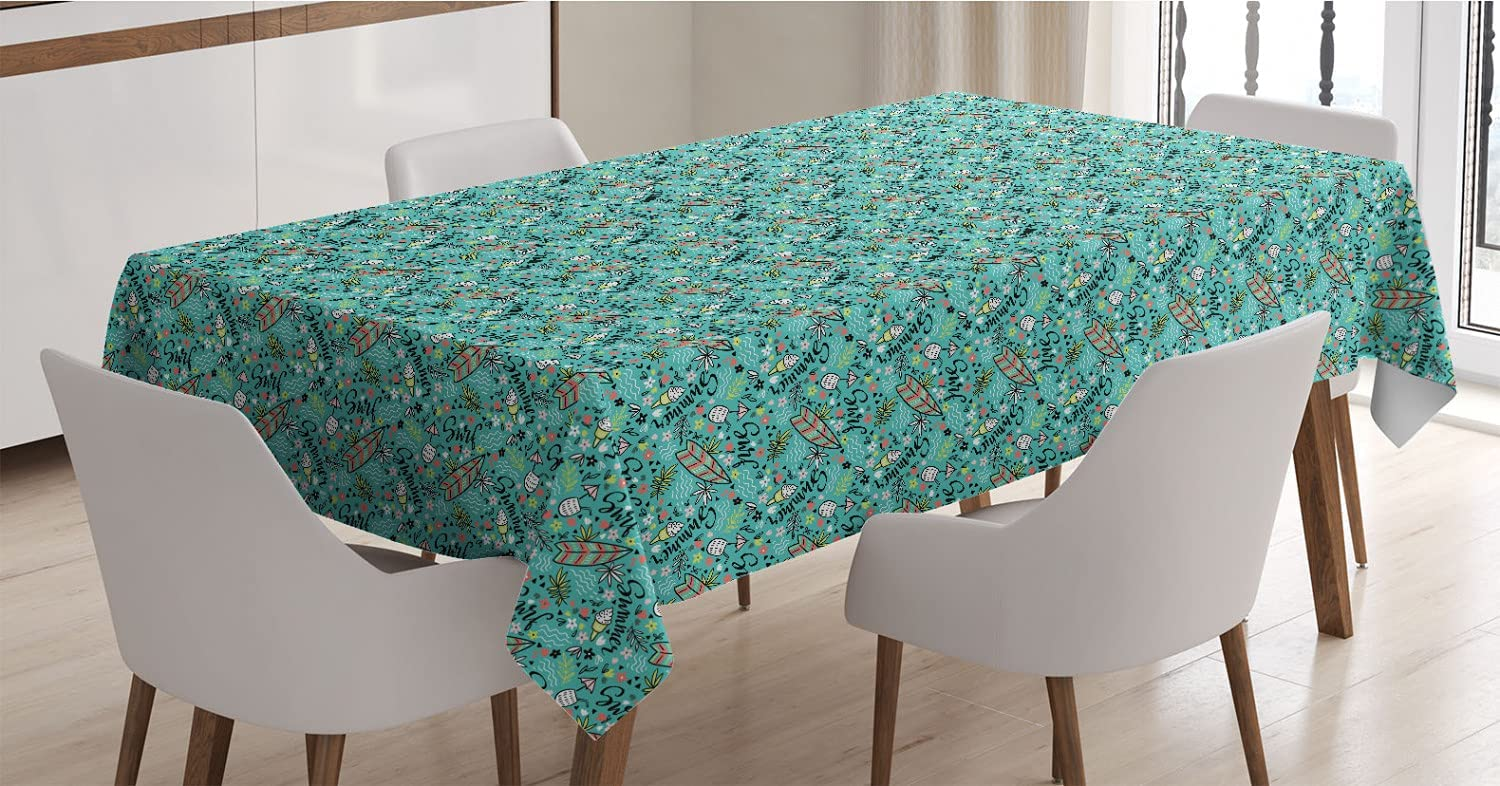OFFicial mail Discount mail order order Ambesonne Surfboard Tablecloth Tropical Composition Ic Cocktail
