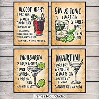 Cocktail Bar Decor Wall Art Poster Prints - Unique Home Decoration for Man Cave, Living Room, Den, Kitchen - Gift for Bartenders, Gin and Tonic, Martini, Bloody Mary, Margarita Fans, (Set of 4) 8x10