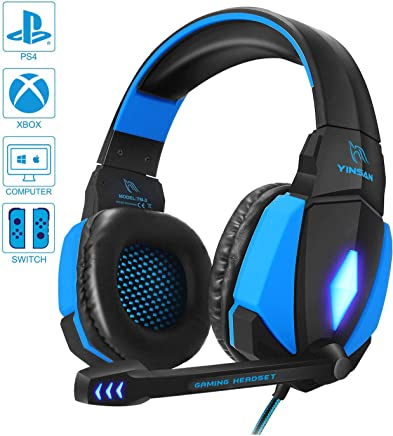 Cuffie Gaming per PS4, YINSAN Cuffie da Gioco con Cavo USB Audio Jack da 3,5 mm, Cuffie Over Ear con Microfono Luce LED e Controllo Volume, Gaming Headset per PS4 Xbox One X/S Nintendo Switch PC, Blu - Trova i prezzi più bassi