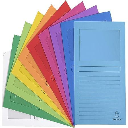 Exacompta - Réf. 50000E - Paquet de 50 chemises à fenetre Forever® - 22x31cm pour format A4 - Couleurs assorties, blanc, bleu clair, bleu vif, fuchsia, jaune, lilas, orange, rouge, vert pré, vert vif