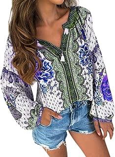 〓COOlCCI〓Women Summer Casual V-Neck Floral Print Long Sleeve Lantern Sleeve Boho Top Blouse T Shirt