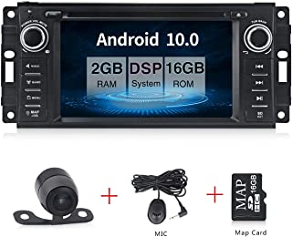 "Android 10.0 Car Stereo CD DVD Player in Dash Car Radio Multimedia Player Navigation System with 6.2"" LCD Bluetooth WiFi GPS for Jeep Wrangler Dodge Chrysler"