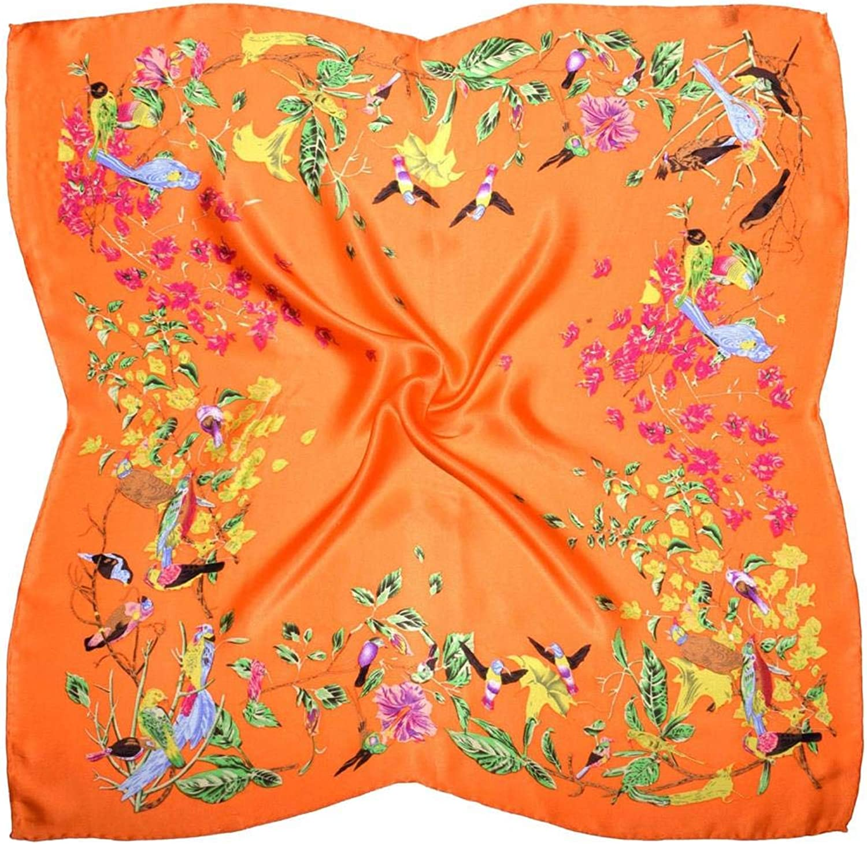 orange Birds Print Thick Silk Square Scarf