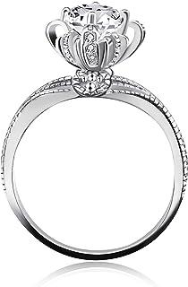 Uloveido 925 Sterling Silver High CZ Diamond Flower Bud Wedding Engagement Jewelry Ring for Women Bridal Wish Pool Fountain JZ049(Size 5-9)