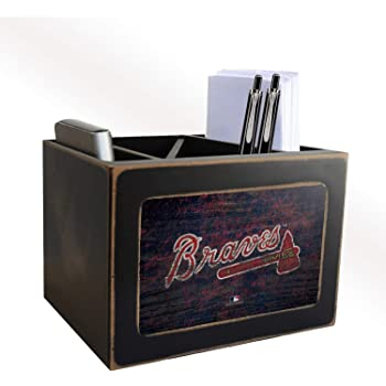 Fan Creations MLB Atlanta Braves Distressed Team Logo Desktop Organizer with Color