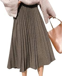 Howme-Women Eco Fleece Elastic Waist Mid Long Thermal Trumpet Skirt