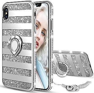 Maxdara Case for iPhone X iPhone Xs Glitter Case Striped Ring Holder Kickstand Grip Bling Sparkle Diamond Rhinestone Protective Bumper Luxury Pretty Fashion Girls Women Case X XS 5.8 inch (Silver)