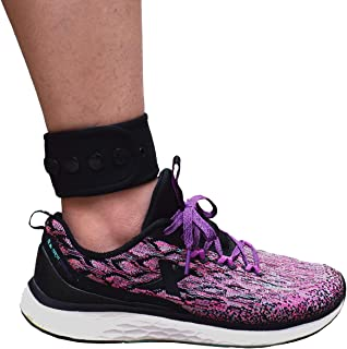 DDJOY Adjustable Ankle Band with Snaps Closure for Men and Women, Compatible with Fitbit Blaze Fitbit Versa Fitbit Charge 2/3 Fitbit Zip Fitbit Inspire HR or Garmin Vivofit/2/3/4 (Black, Medium)
