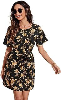 فستان بحزام بطبعة الزهور للنساء