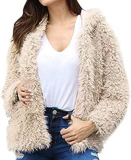 Hooede Faux Fur Coat, QIQIU Womens Winter Open Front Solid Loose Long Sleeve Fashion Warm S-XXL Outerwear Jacket