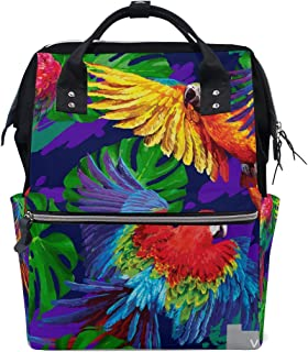 Backpack for Men Women, Tropical Parrots Monstera Leafs Casual Water-Resistant College School Backpack