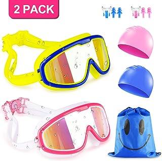 KAQINU Kids Swim Goggles, 2 Packs Swimming Goggles for Boys Girls, No Leaking Anti Fog UV Protection Crystal Clear Wide Vi...