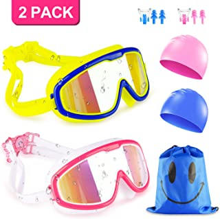 KAQINU Kids Swim Goggles, 2 Packs Swimming Goggles for Boys Girls, No Leaking Anti Fog UV Protection Crystal Clear Wide Vision Goggles with Swim Caps + Nose Clips + Ear Plugs + Storage Bag