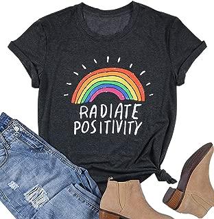 Radiate Positivity Rainbow T-Shirt PrideFest Cute Shirt Graphic Tees Letter Print Tee Top for Women