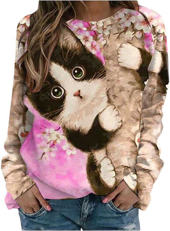 Women Long Sleeve Cute Cat Animal Print Crewneck Shirts Loose Comfy Soft Tunic Tops Daily Base Blouses