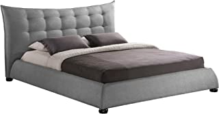 Baxton Studio Marguerite Linen Modern Platform Bed, King, Grey