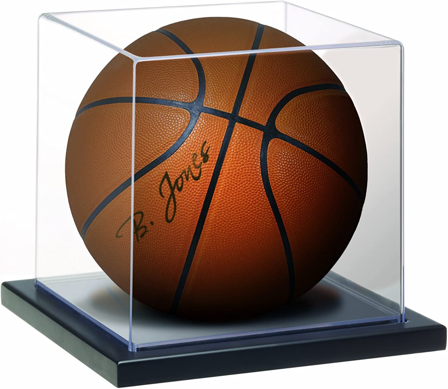MCS Full Size BasketballSoccer Ball Display Case, Clear with Black Base (53975)