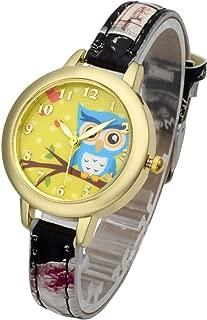 Top Plaza Womens Girls Fashion Cute Analog Quartz Wrist Watch Beautiful Cartoon Owl Pattern Gold Case Flowers Leather Strap Dress Watch