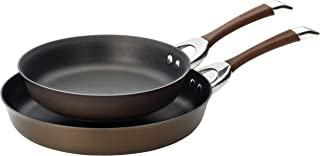 Circulon 82767 Symmetry  Hard Anodized Nonstick Frying Pan Set / Fry Pan Set / Hard Anodized Skillet Set - 10 Inch and 12 Inch, Brown