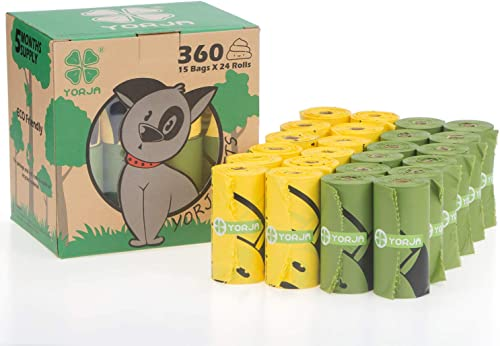 YORJA Sacs à Déjections Canines,pour Déchets Chiens,étanches,Extra Larges,épais et résistants-24 Rouleaux(360 Scas)