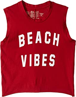 Slightly Cropped Vintage Cotton Beach Vibes Tank (Big Kids)