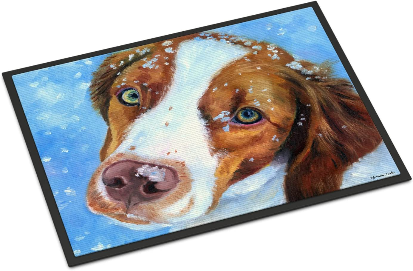 Caroline's Treasures 7348MAT Snow Baby Brittany Genuine Free Shipping o Spaniel Limited price Indoor
