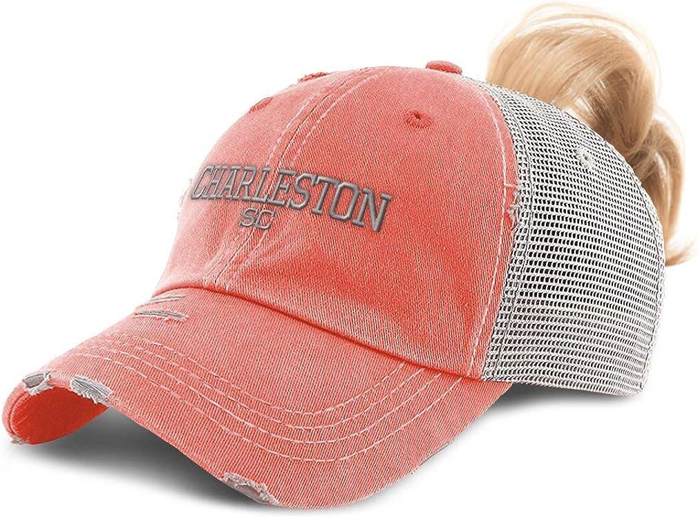 Custom Womens Ponytail Cap South Carolina Charleston USA Embroidery Cotton