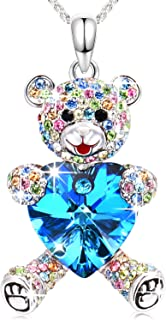 Conmisun Necklaces for Women Girls Crystals from Swarovski Pendant Cute Teddy Bear Guards Your Love, Jewelry Gifts Anniversary Birthday Friendship Blue&Ruby
