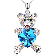 Conmisun Necklaces for Women Girls Crystals from Swarovski Pendant Cute Teddy Bear Guards Your...