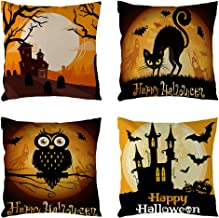 sph 18inch Halloween Skull Cap Pumpkin Owl Linen Throw Pillowcover Happy Halloween Cushion Cove r pilllowcase Seat Bedroom Decorative Pillows 4pcak a Set (Halloween 3)