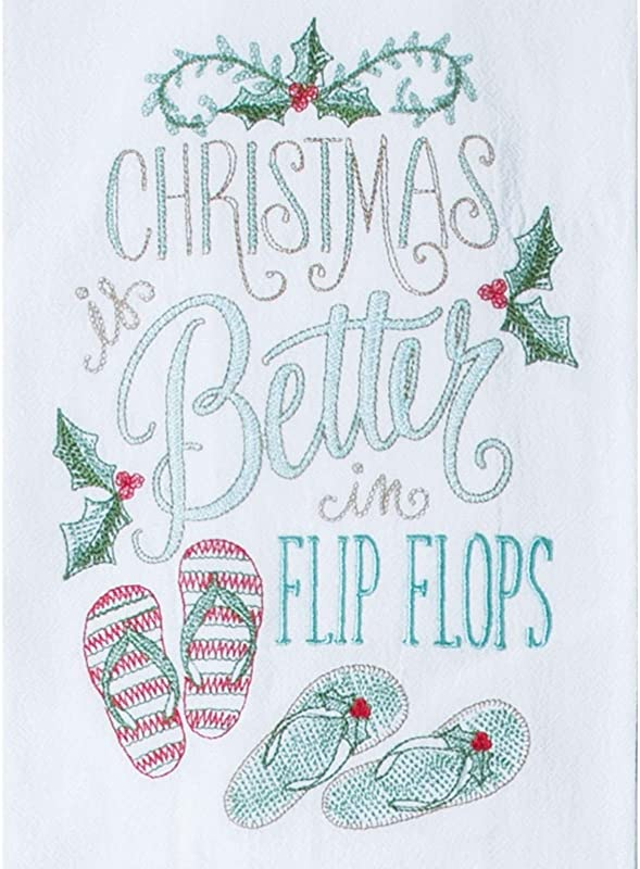 Christmas Better In Flip Flops Holiday Embroidered Kitchen Dish Flour Sack Towel