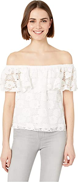 Shoulder Action Lace Off Shoulder Blouse