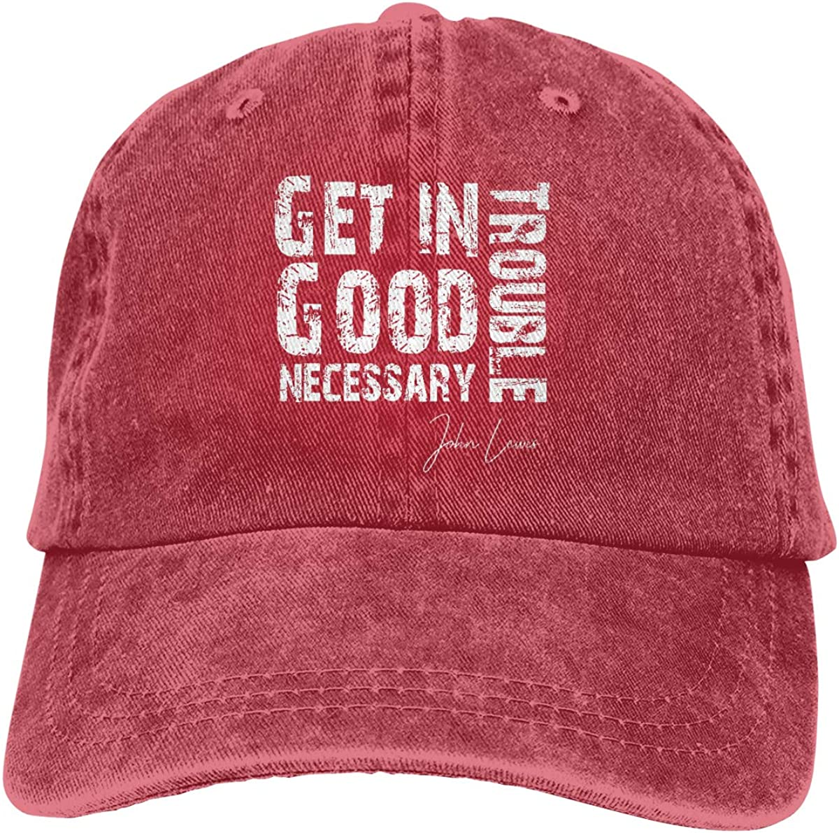 Get in Trouble Good Trouble Necessary Trouble John Adjustable Baseball Cap Unisex Washable Cotton Trucker Hat Dad Hat
