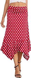 PrinStory Women's Summer Dress Spring Casual Elegant Flowy Handkerchief Hemline Midi Skirt