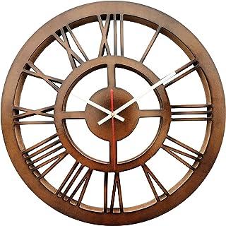 SMARTCAREWOOD Wall Clock (Brown Round Roman) (Wood Craft)(Silent Movement)