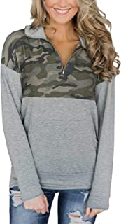 Hount Women's Long Sleeve Pullover Tops High Zipper Casual Floral Printed Sweatshirts with Pocket