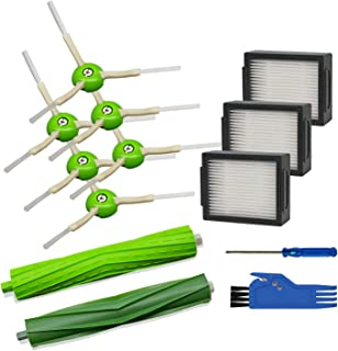 Mochenli Replacement Parts for iRobot Roomba i7 i7+/i7 Plus E5 E6 Vacuum Cleaner Accessories Pack of 1 Set of Multi-Surface Rubber Brushes +3 HEPA Filters +6 Edge-Sweeping Brushes.