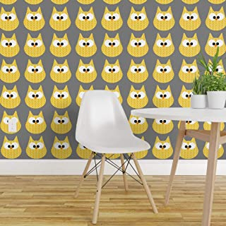 Spoonflower Peel and Stick Removable Wallpaper, Chevron Owl Cute Owls Baby Nursery Decor Hoots Birds Yellow Grey Print, Self-Adhesive Wallpaper 12in x 24in Test Swatch