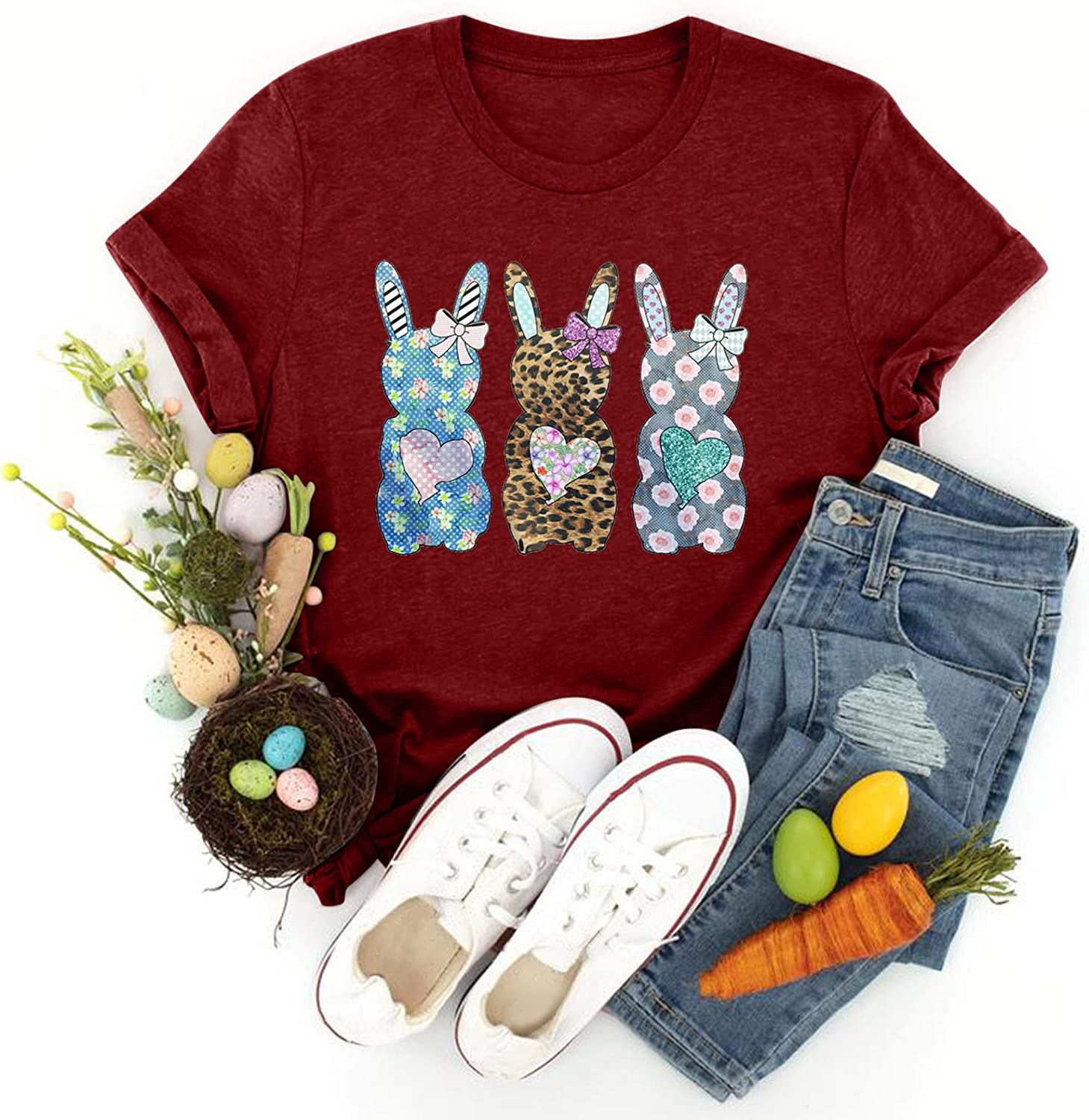 BEIBEIA Women Easter Max 77% OFF Bunny Printing Short Sleeve T-Sh Tee Ranking TOP14 O-Neck