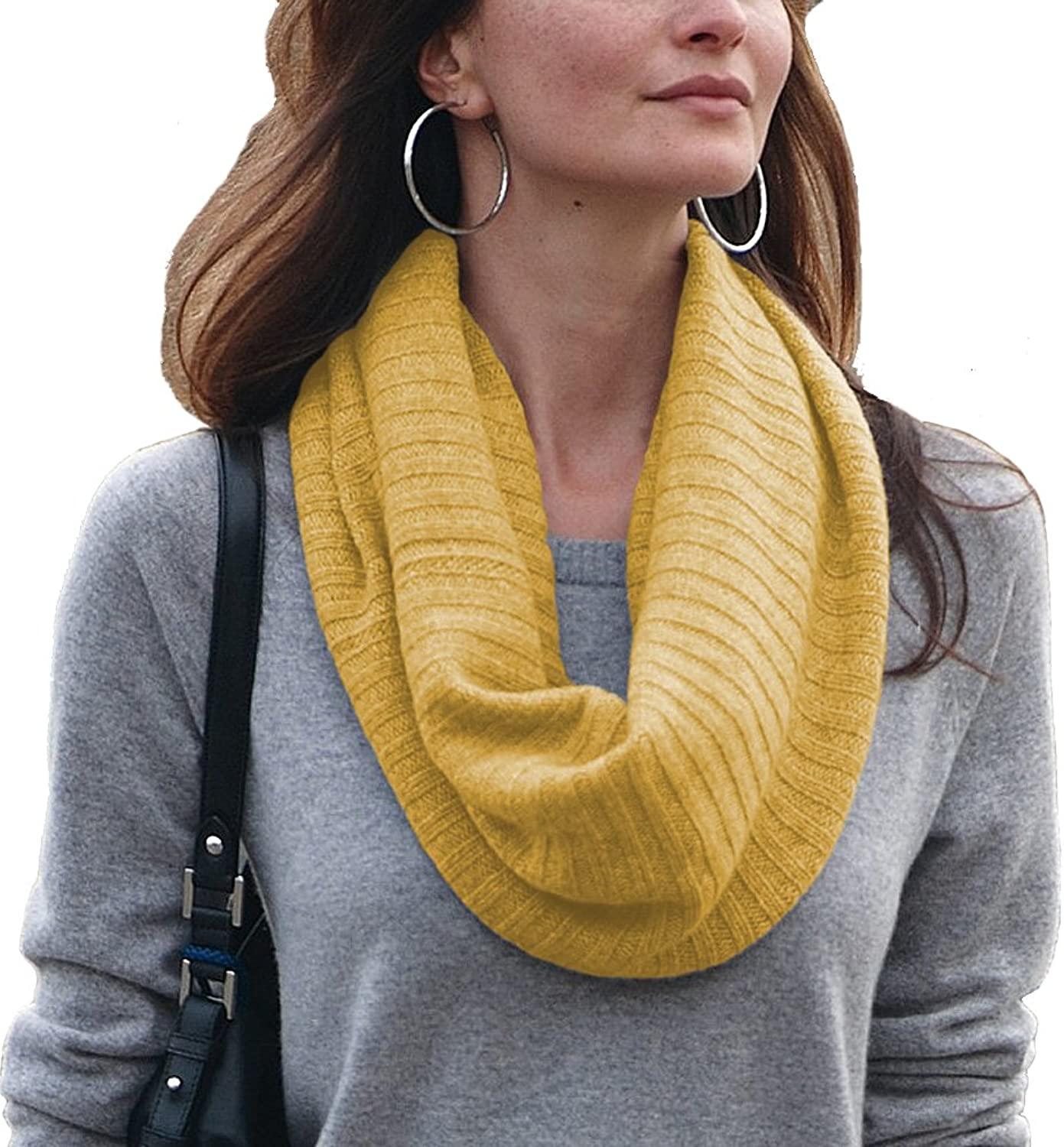 Parisbonbon Women's 100% Cashmere Ribbing Infinity Scarf