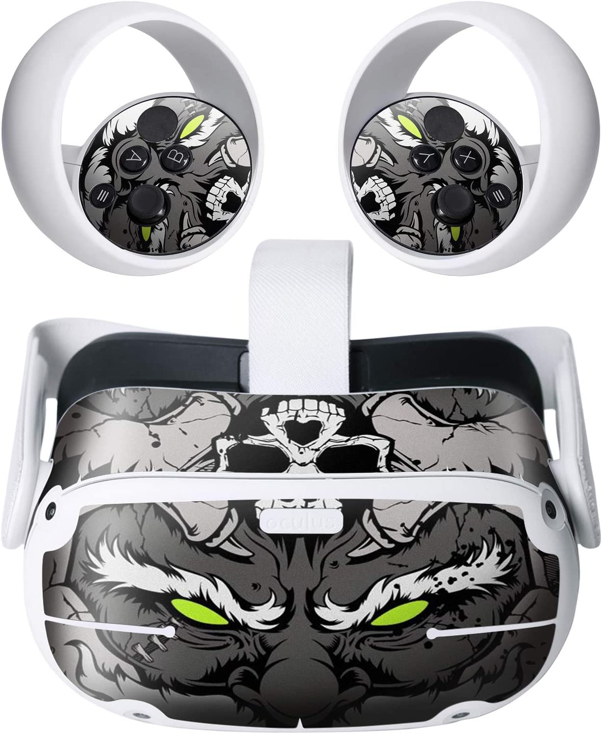 Hifylux Stickers for Oculus Quest 2 VR Headset and Controller Virtual Reality PVC Decal Skin Protective Accessories Black Skull